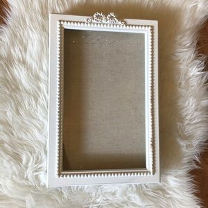 White Shabby chic Jewelry display case with bow